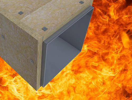 Image showing duct insulation over background of fire