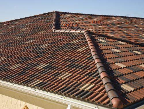 Photograph of a tile roof