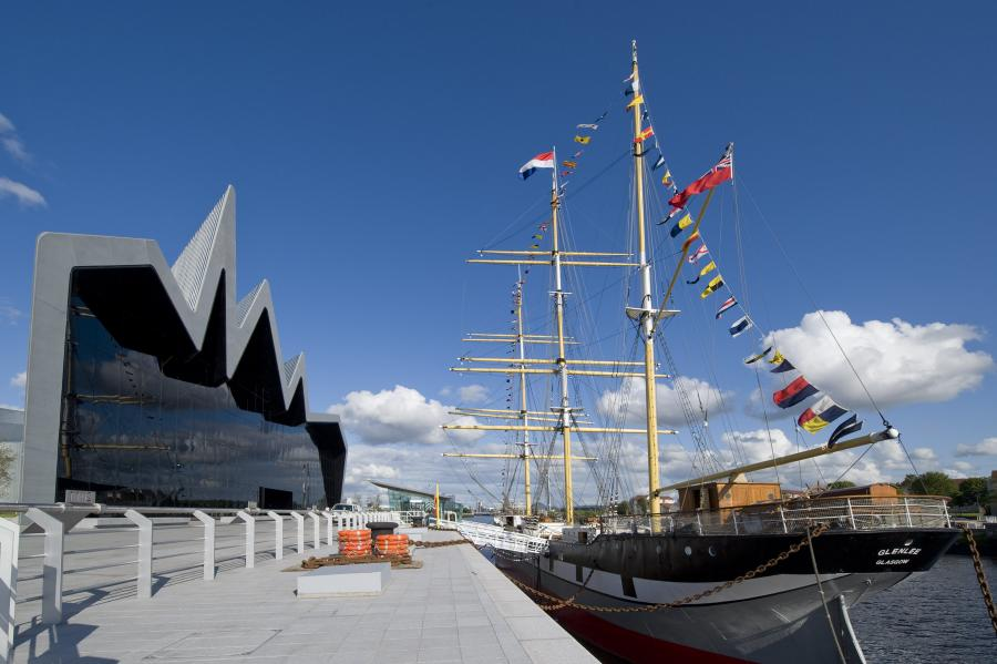 Exterior shot of the museum with ship in the foreground