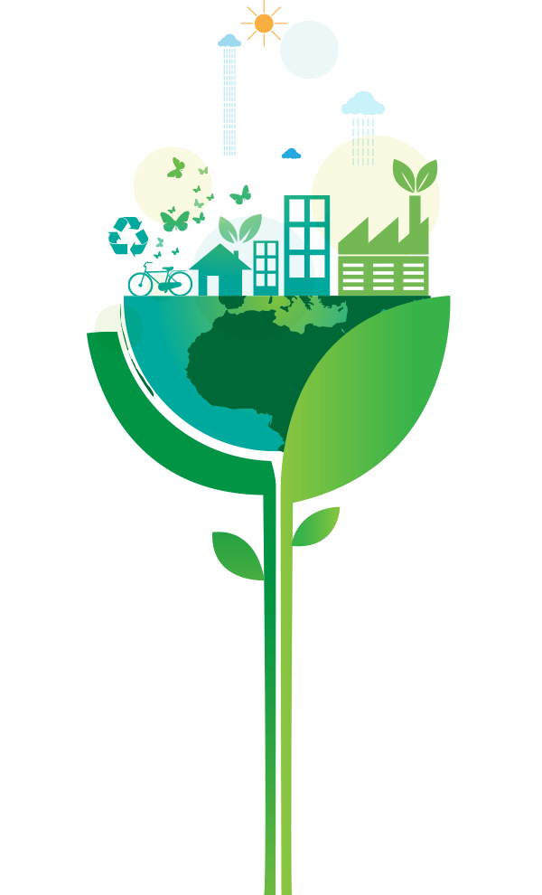 Vector graphic of half globe inside plant with buildings along the top half.